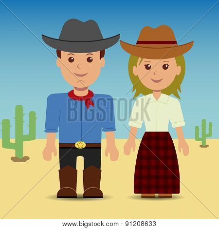 Cowboy and cowgirl.