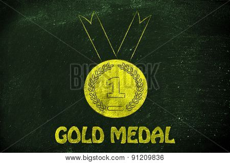Gold Medal, Symbol Of Sport Achievements And Metaphor Of Success