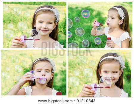 Collection Of Photos Little Girl Is Blowing A Soap Bubbles
