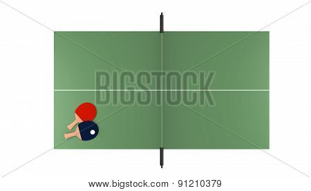 Tennis Table With Rackets