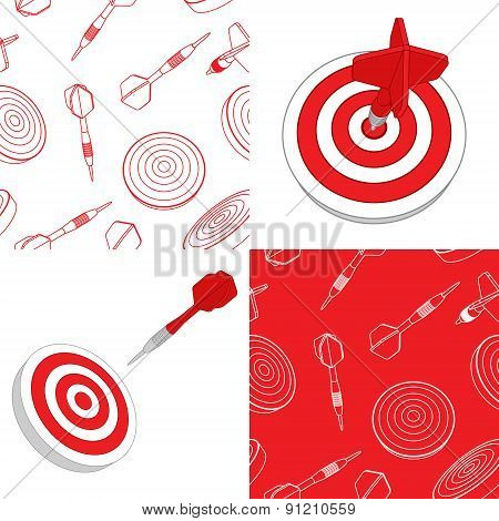 Darts target and seamless set