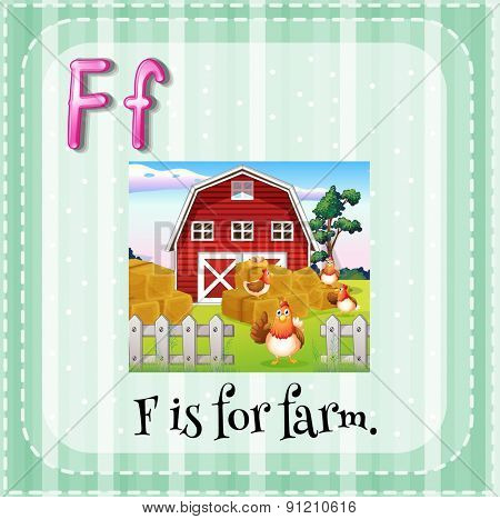 Flashcard letter F is for farm