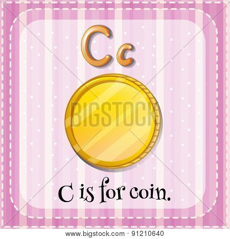 Flashcard letter C is for coin