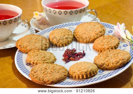 Romantic homemade biscuits with herbal tea