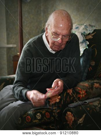 Portrait of 93 years old English man in domestic environment