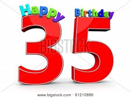 The Big Red Number 35 With Happy Birthday
