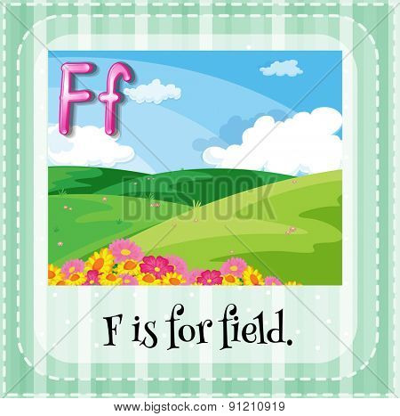 Flashcard letter F is for field