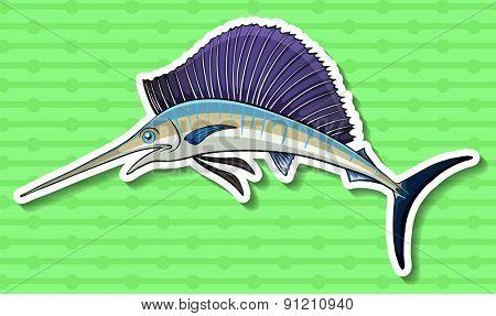Closeup swordfish swimming alone on green background