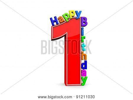 The Big Red Number 1 With Happy Birthday