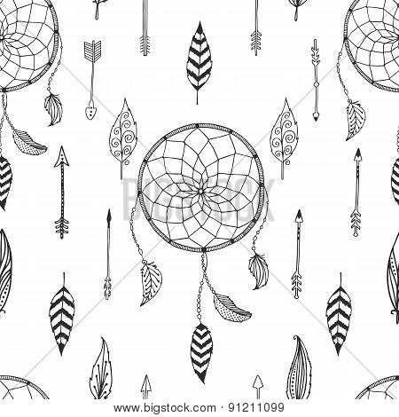 Vector arrow background, retro pattern, etnic doodle collection