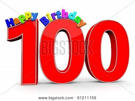 The Big Red Number 100 With Happy Birthday