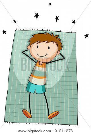 Boy resting on a blue carpet