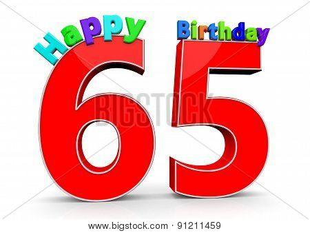 The Big Red Number 65 With Happy Birthday
