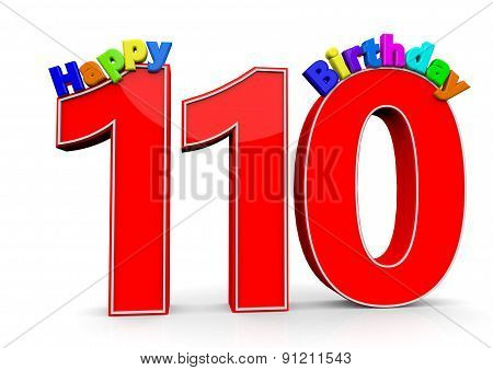 The Big Red Number 110 With Happy Birthday