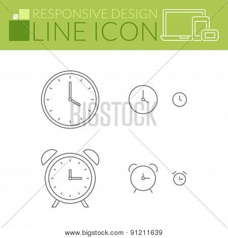 Clock And Alarm. Line Icons. Responsive Design.