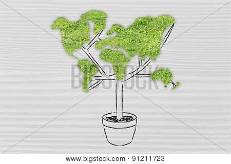 Tree With World Map Shaped Foliage, Concept Of Ecology