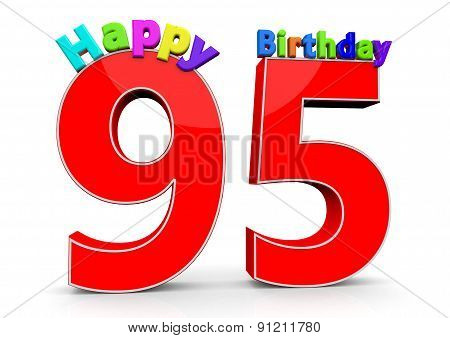 The Big Red Number 95 With Happy Birthday