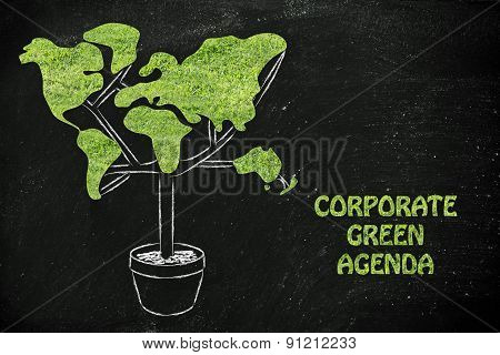 Tree With World Map Shaped Foliage, Concept Of Ecology And Corporate Green Agenda