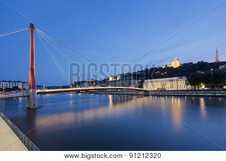 View Of Saone River At Lyon By Night