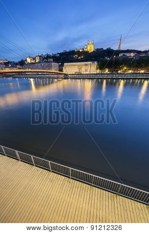 Vertical View Of Saone River At Lyon By Night