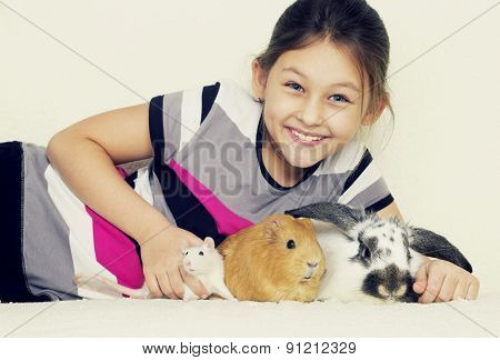 Child And Guinea Pig, Rabbit, Rat