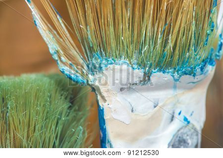 green brush closeup