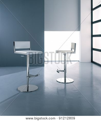bar stool in leather and steel