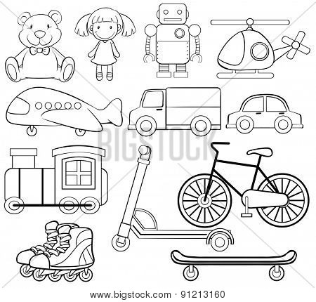 Set of classic toys in simple design
