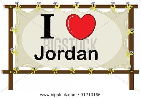 I love Jordan sign in wooden frame