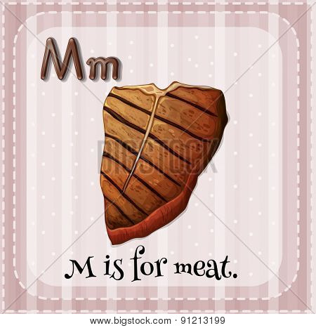Flashcard letter M is for meat