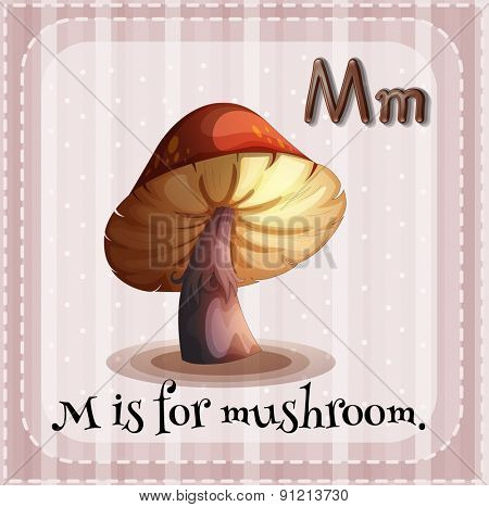 Flashcard letter M is for mushroom