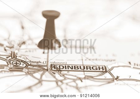 Edinburgh City On Map, Scotland