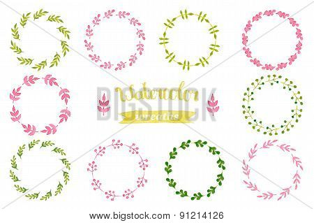 Watercolor set of wreaths, frame, border