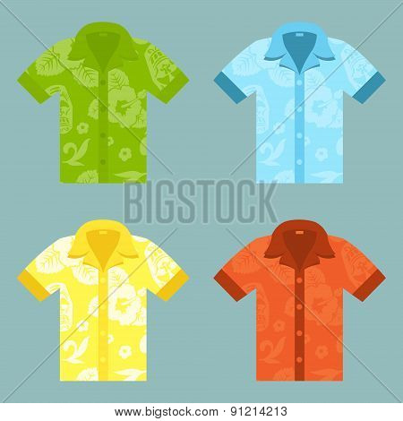 Flat icons of four Aloha Shirts.