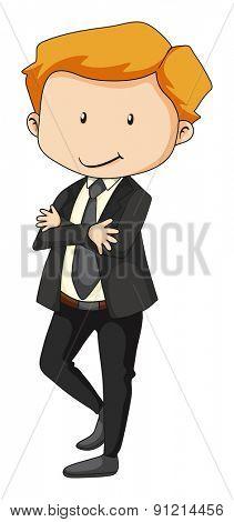 Closeup happy businessman in formal clothes
