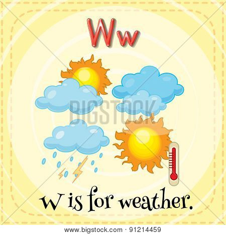 Flashcard letter W is for weather