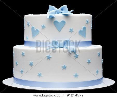 Cake With Blue Hearts On Black