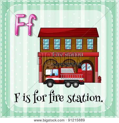 Flashcard letter F is for fire station