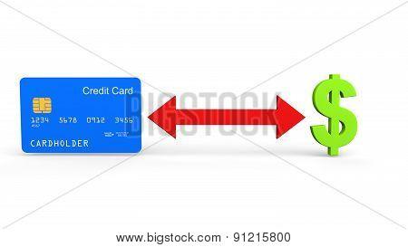 3D credit card and dollar symbol