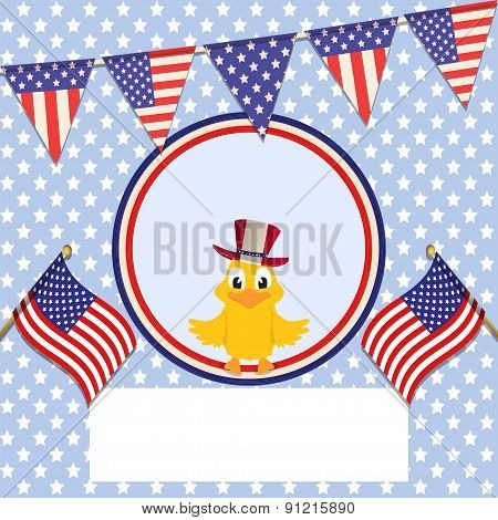 Independence Day Background With Bunting Flags And Chick