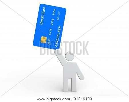 3d man holding credit card