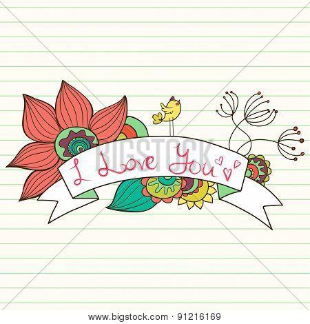 Floral Ribbon Banner