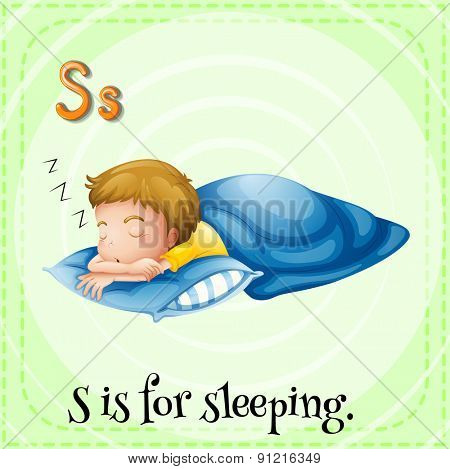 Flashcard alphabet S is for sleeping