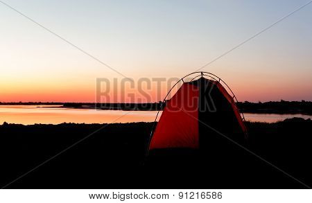 Camping In Africa On Zambezi River In Namibia