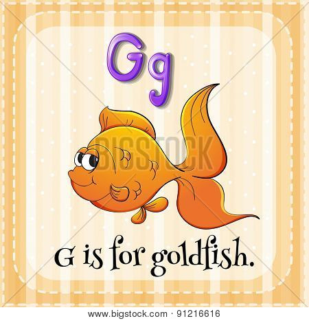 Flashcard alphabet G is for goldfish