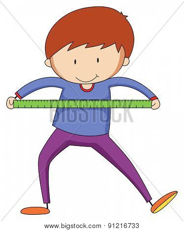Closeup happy boy with ruler measuring something