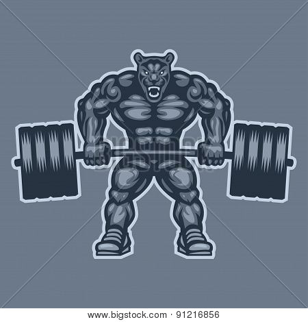 Panther bodybuilder lifting barbell and growls
