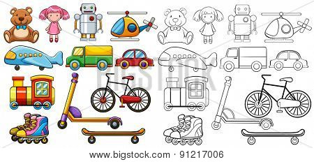 Different type of classic toys