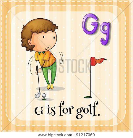 Flashcard alphabet G is for golf