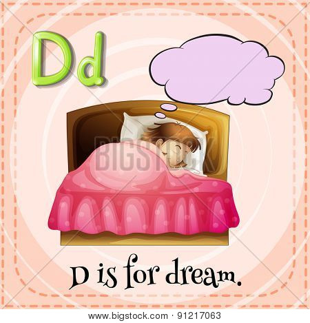 Flashcard alphabet D is for dream